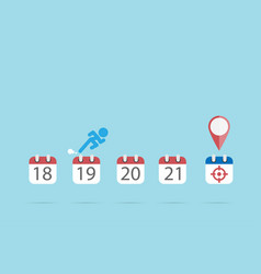 businessman is running on calendar to the target vector image