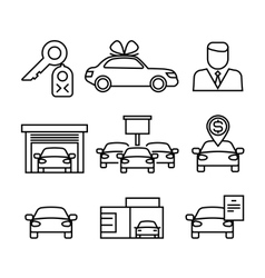Car dealerships purchase and sale of cars line vector image vector image