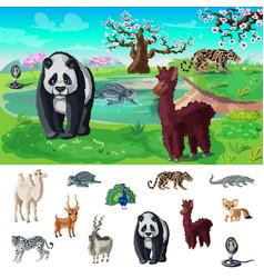 cartoon asian wildlife concept vector image vector image