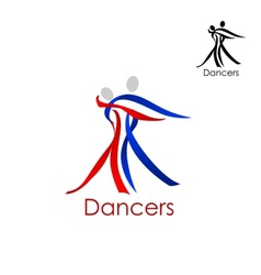 Dancing couple abstract emblem template vector