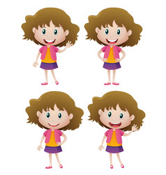happy girl in four actions vector image