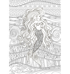 patterned of a mermaid vector image