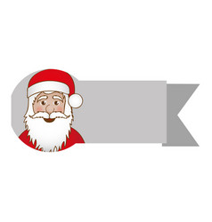 ribbon with face cartoon santa claus vector image