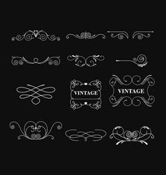 set of white color vintage vector image