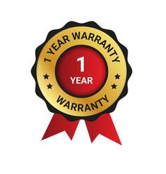 1 year warranty badge label extended warranty vector