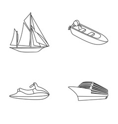 ancient sailboat motor boat scooter marine vector image