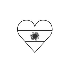 argentina flag icon in a heart shape in black vector image