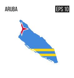 aruba map border with flag eps10 vector image