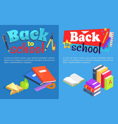Back to school collection of posters with text vector