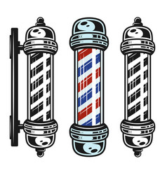 Barbershop pole three style vintage objects vector