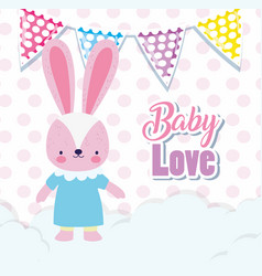 bashower love rabbit girl with dress flags vector image