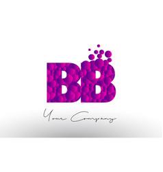 Bb b b dots letter logo with purple bubbles vector