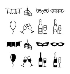 Birthday party icons collection - party silhouette vector