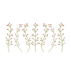 botanical floral set green plants branches with vector image