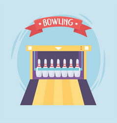 Bowling game recreational sport alley pins flat vector