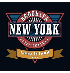 Brooklyn State College T-shirt Typography Graphics vector image