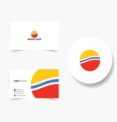 business card in color vector image