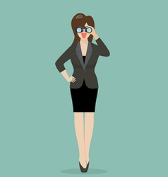Business woman with binoculars vector