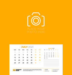 calendar for july 2021 week starts on monday wall vector image