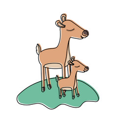 Cartoon deer mom and calf over grass in watercolor vector