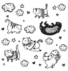 cat funny characters collection vector image