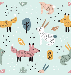 childish seamless pattern with cute bunny and fox vector image