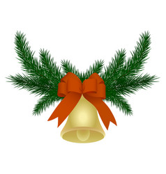 christmas wreath made of fir branches with bell vector image