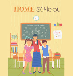 Classmates and teacher home school card vector