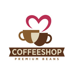 Coffee shop with premium beans logotype with cups vector