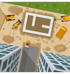 Construction top view poster vector