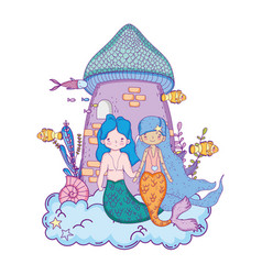Couple mermaids with castle undersea scene vector