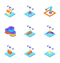 create a home icons set isometric style vector image