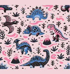 Cute cartoon dinosaurs seamless pattern in pink vector