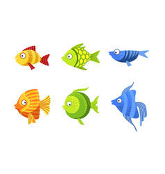 Cute fish set colorful tropical sea or aquarium vector