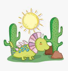 cute styracosaurus animal with cactus and sun vector image