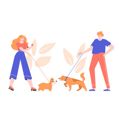 Dog owners for a walk vector