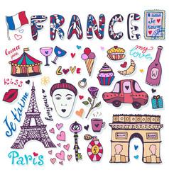 doodles set of france - eiffel tower triumphal vector image