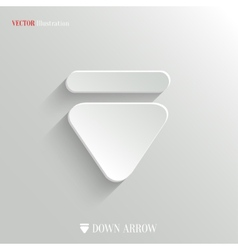 Down arrow icon - white app button vector image