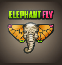 elephant butterfly logo vector image