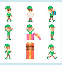 elves characters set santa claus helper in vector image