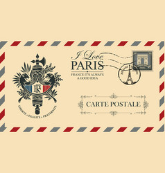 envelope with french coat of arms vector image