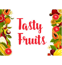Exotic fruit banner edged by fresh tropical berry vector