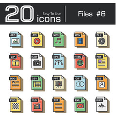 files icon set 6 vector image