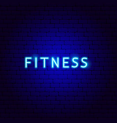 Fitness neon text vector