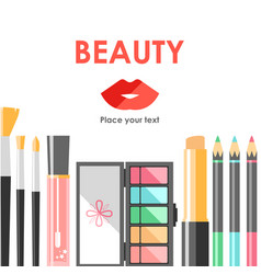 Flat cosmetics bacground beauty fashion products vector