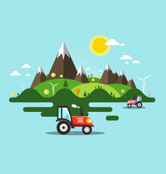 flat design landscape with tractor on field vector image