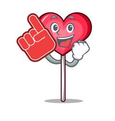 Foam finger heart lollipop mascot cartoon vector