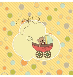 funny teddy bear in stroller vector image