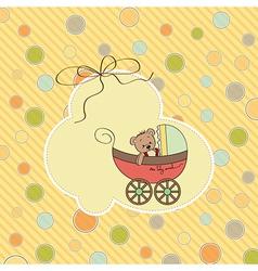 funny teddy bear in stroller vector image
