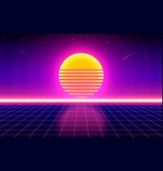 futuristic retro landscape 80s background vector image